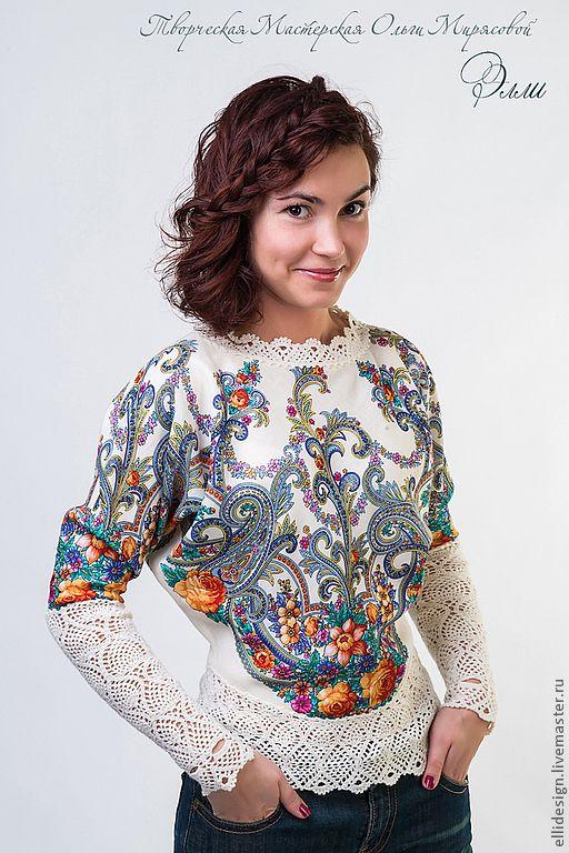 """Купить Блуза """"Василиса"""" - цветочный, павловопосадский платок, 100% ручная работа, 100% шерсть"""