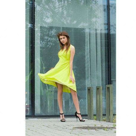 Suknia rozkloszowana midi w limonkowym kolorze Bee Collection Ami