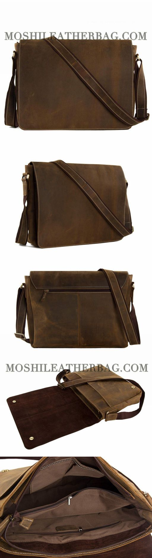 15'' GENUINE LEATHER MEN MESSENGER BAG LAPTOP BAG CROSSBODY BAG 1053L