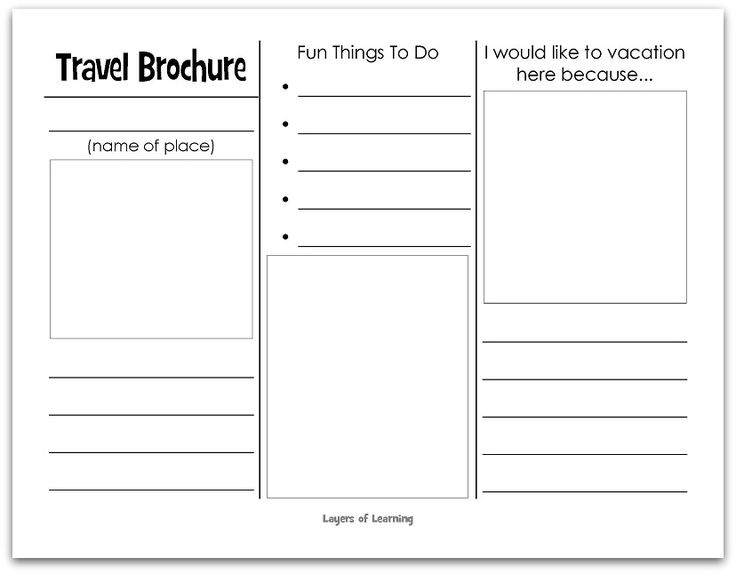 This printable travel brochure will help kids organize facts and information about anywhere in the world.