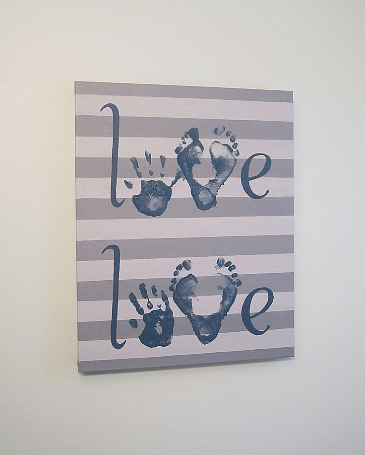 """Any Color, Stripe Love Handprint and Footprint Canvas Art with Print Kit, for 2 Children, Custom Handpainted Keepsake, 16x20"""" by SnowFlowerArts on Etsy https://www.etsy.com/listing/178313050/any-color-stripe-love-handprint-and"""