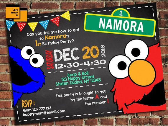 Elmo Birthday Invitation Elmo Birthday Invite Sesame by ArtAmoris