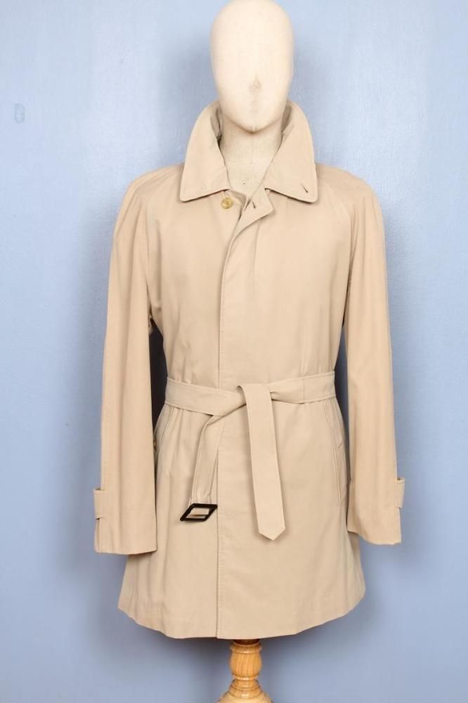 SUPERB Mens BURBERRY Single Breasted Short TRENCH Coat Mac Beige 42/44 Large #Burberry #TrenchCoatsMacs