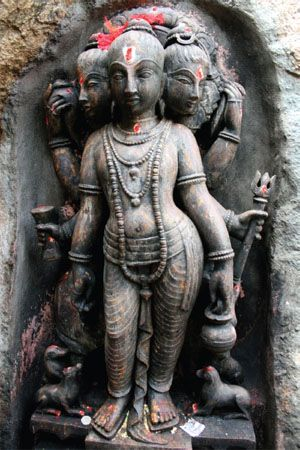 Trimurti, meaning having three forms, is the term applied to the three main Hindu gods: Brahma, Vishnu, and Shiva. This Trimurti, or triad, represents all aspects of the Supreme Being.