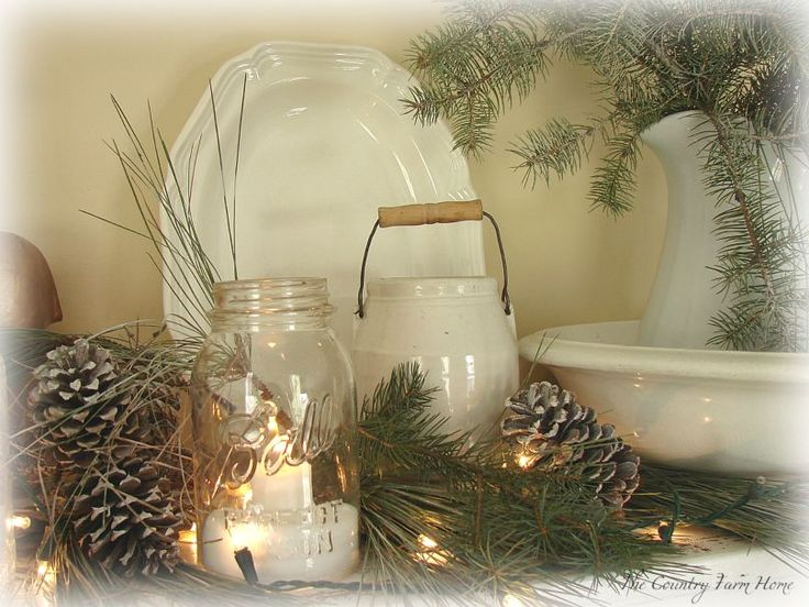 The Country Farm Home decor-lots of pics the use of cotton picked fresh from the fields used as Christmas deco... Never would have thought of that!