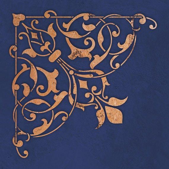 Arabesque plafond coin pochoir  peint des par royaldesignstencils