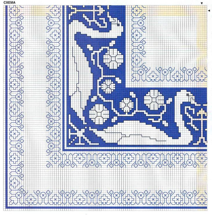 Bordura assisi blu cigni