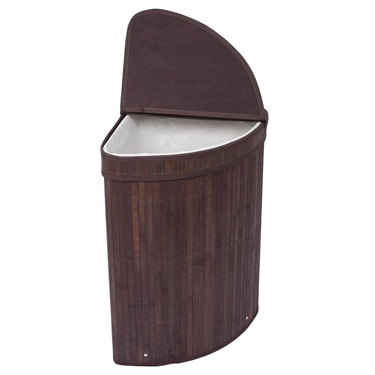 BirdRock Home Espresso Finish Bamboo/ Cotton Corner Laundry Hamper with Lid and Cloth Liner (Bamboo Espresso Bamboo Corner Hamper with lid), Brown