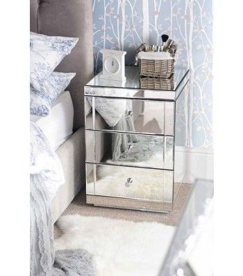 LUCIA Mirrored Bedside Table with 3 Drawers