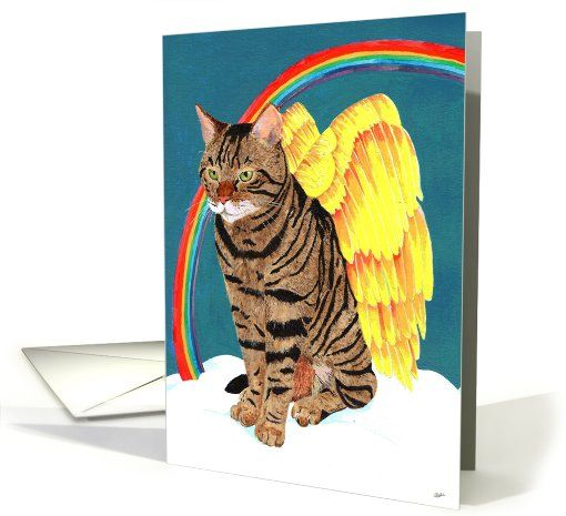 Cat card: Angel Cat (pet sympathy card) Greeting Card by Angela Cater: Greeting Card