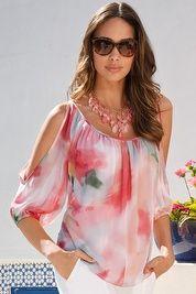 Cloudy floral cold-shoulder blouse