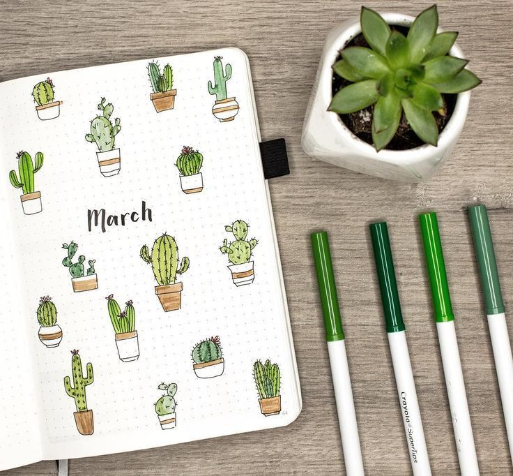 Einrichtung eines Kaktus-Bullet-Journals für März. Schauen Sie sich das Video an: youtu.be/No7r Bullet journal