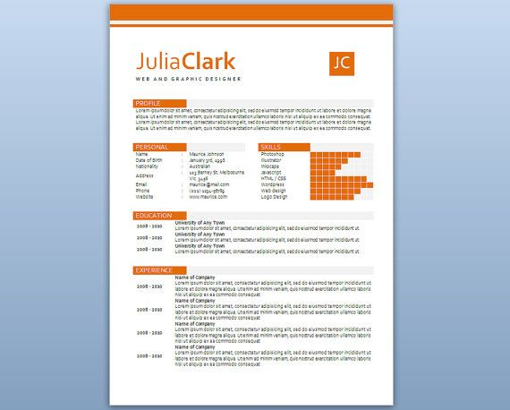 Modern Microsoft Word Resume  Template  Julia Clark  by Inkpower, $12.00