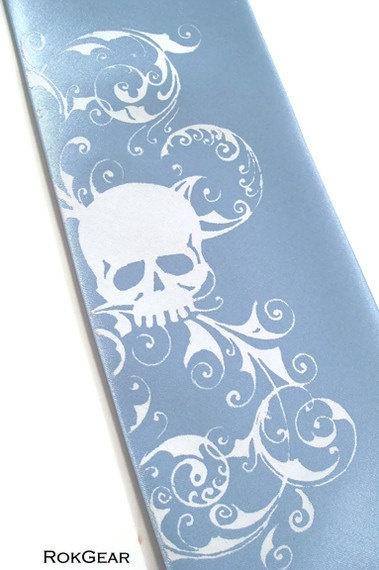 Mens powder blue skull necktie   microfiber tie by RokGear