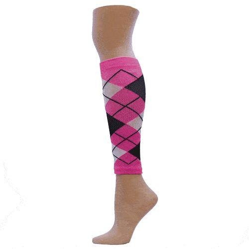 Fluorescent Pink Argyle Compression Leg Sleeves