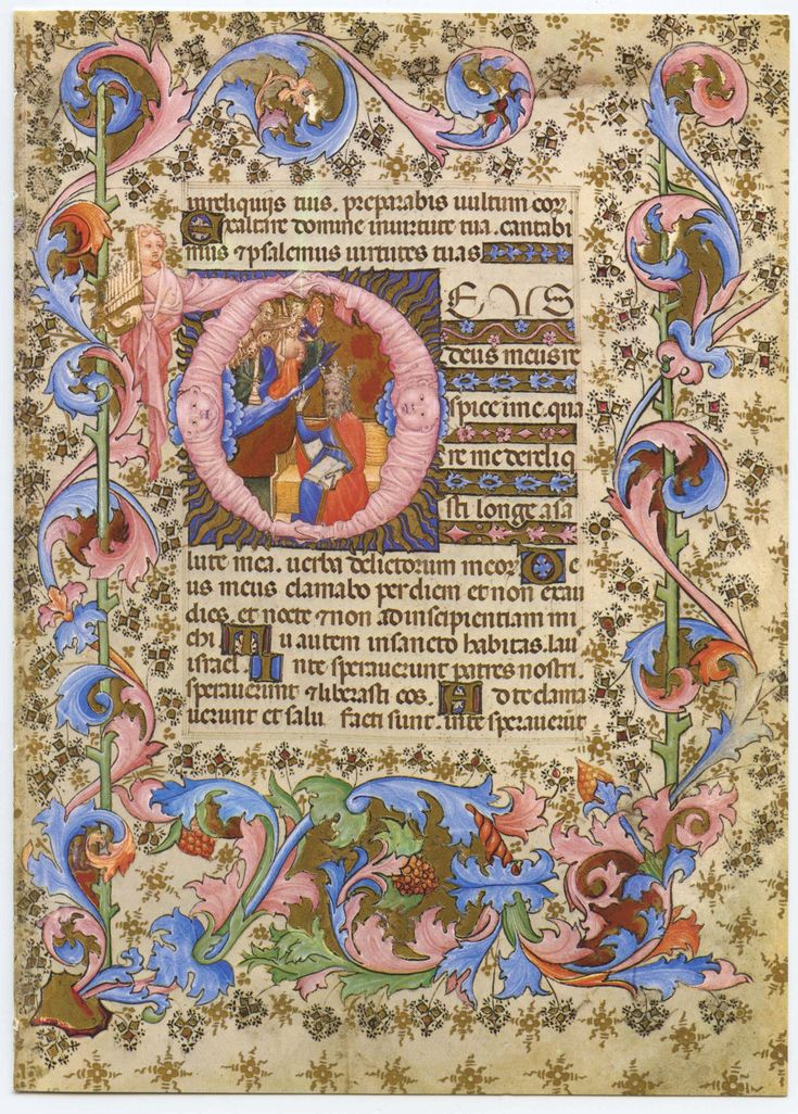 vintage bible illuminated manuscript page psalm 21 by