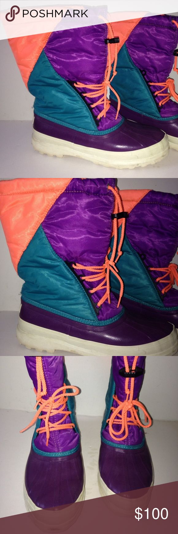 VTG SOREL WINTER BOOTS SZ 9 OLD SCHOOL PAIR OF SOREL WINTER BOOTS MADE IN CANADA  WOMEN SIZE 9  NEON ORANGE, PURPLE & TEAL COLORS REMOVABLE LINER ONLY WORN A FEW TIMES, EXCELLENT CONDITION I'VE NEVER SEEN ANOTHER PAIR LIKE THAT REALLY COOL LOOKING BOOTS! Sorel Shoes Winter & Rain Boots