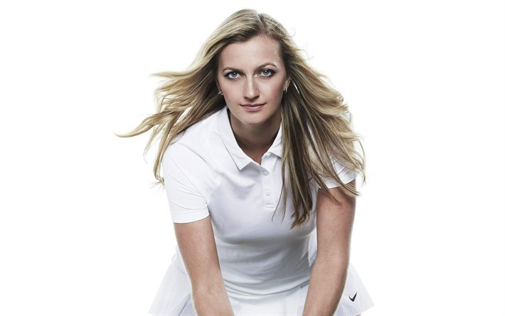Download wallpapers Petra Kvitova, WTA, Tennis, Wimbledon, young athlete, portrait, Czech tennis player