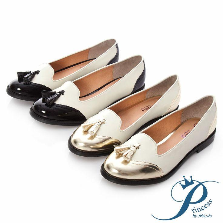 Princess - 流蘇拼接紳士平底樂福鞋-焦點黑 - Yahoo!奇摩購物中心