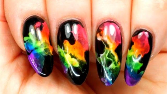 Neon Rainbow Smoke Nail Art Rainbow Nail Art Neon Nail Art Dot Nail Art Designs