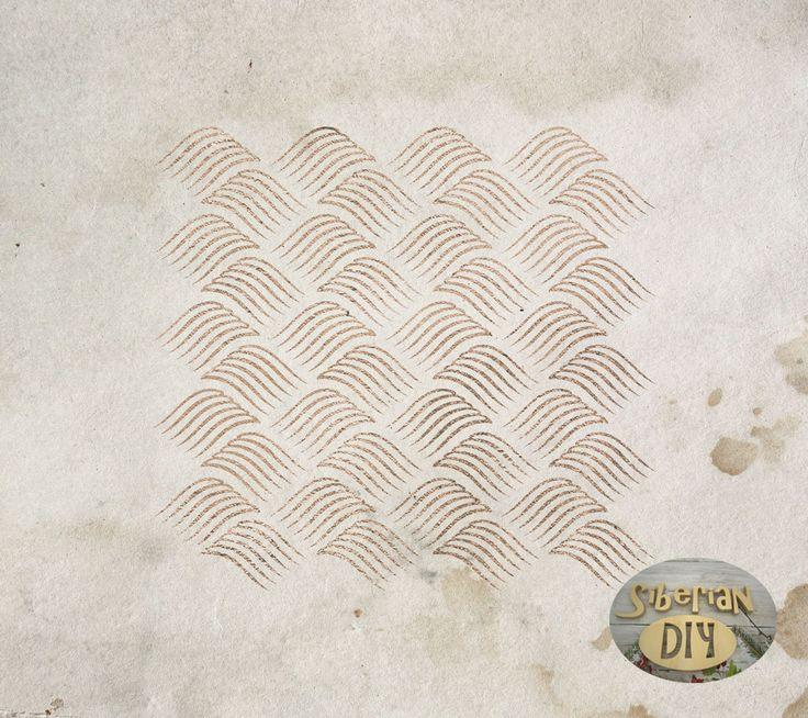 "Laser Cut Plastic Stencil Mask ""Waves"" by SiberianDIYcraftsArt on Etsy"