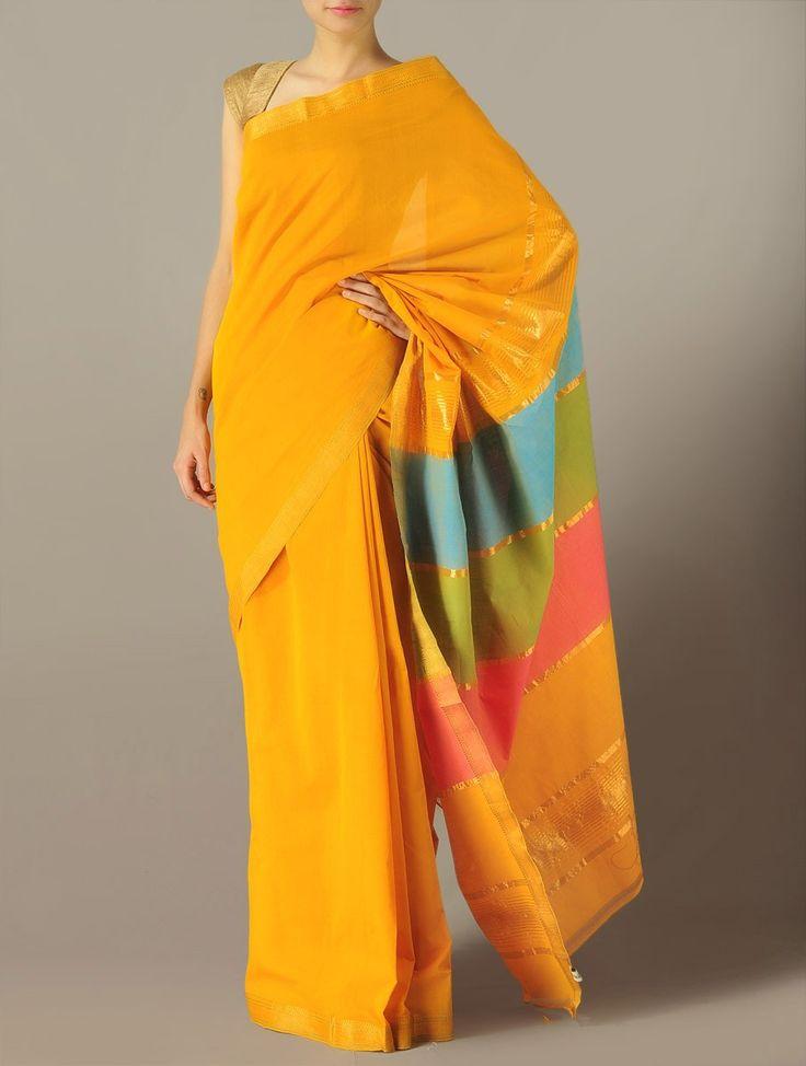 Yellow Mangalgiri Cotton Saree - Color Block
