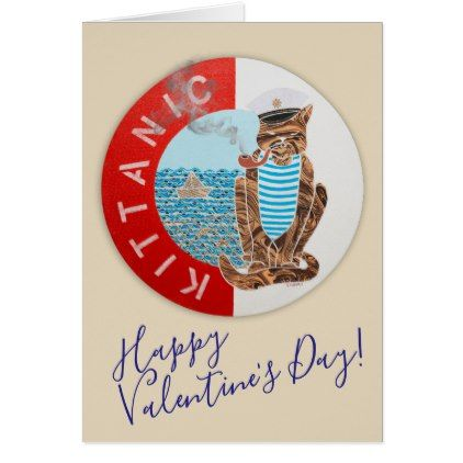 Happy Valentine's Day Greeting Card w/ Captain Cat - valentines day gifts love couple diy personalize for her for him girlfriend boyfriend