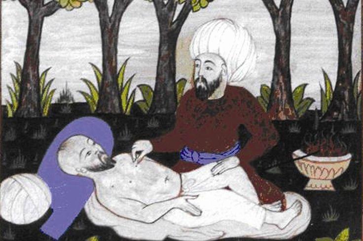 A doctor and a patient in the Ottoman Empire from the book of Ayten Altıntaş, Osmanlı Hekimlerinin Sağlıklı Yaşam Kuralları (İstanbul: Maestro, 2012)