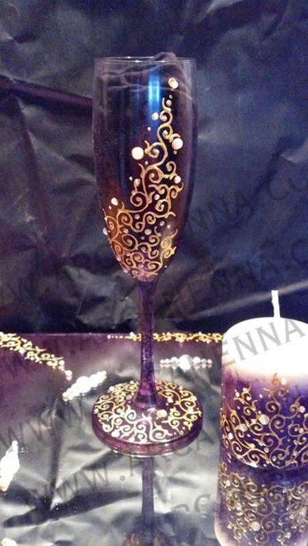 Flûte à champagne décorée à la peinture et strass : Vaisselle, verres par arcahenna
