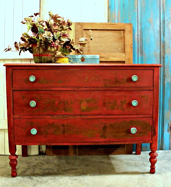 vintage dresser painted with tricycle red mms milk paint