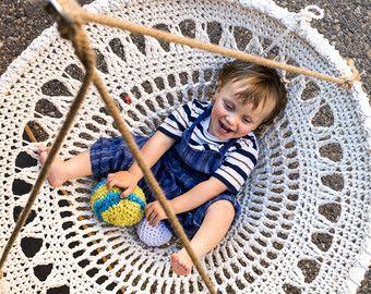 Mandala Crochet Swing Handmade Recycled White Crochet Chair Shabby Chic Home Decor Kids Room Furniture (No. 09.)