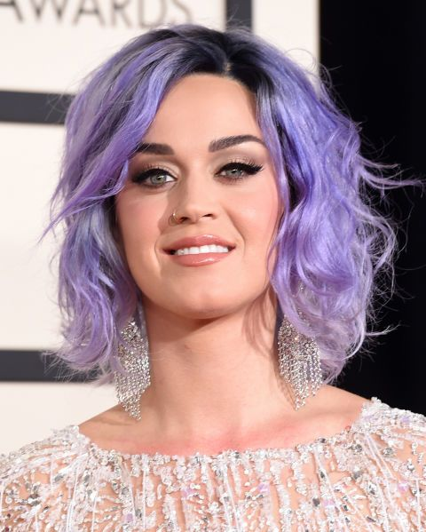 Yet another colour reinvention for Katy Perry and we're loving her tousled lavender waves.
