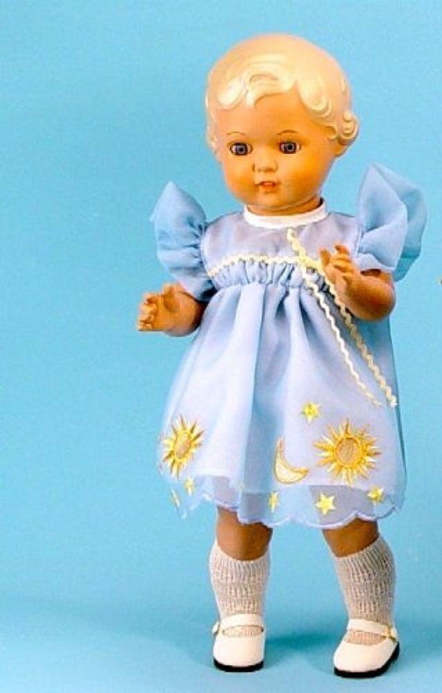 Schildkrötpuppe Erika, ca. 41 cm, blond, im Organzakleid   eBay