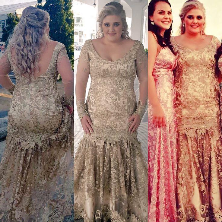 My golden ball gal in bespoke gold lace dress