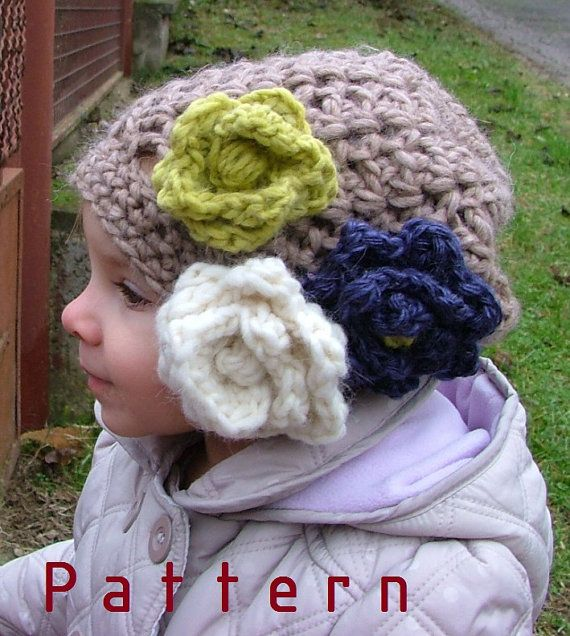Crochet pattern-for The Babba Slouchy Hat with Crocheted Flower Toddler/Children/Adults/Woman