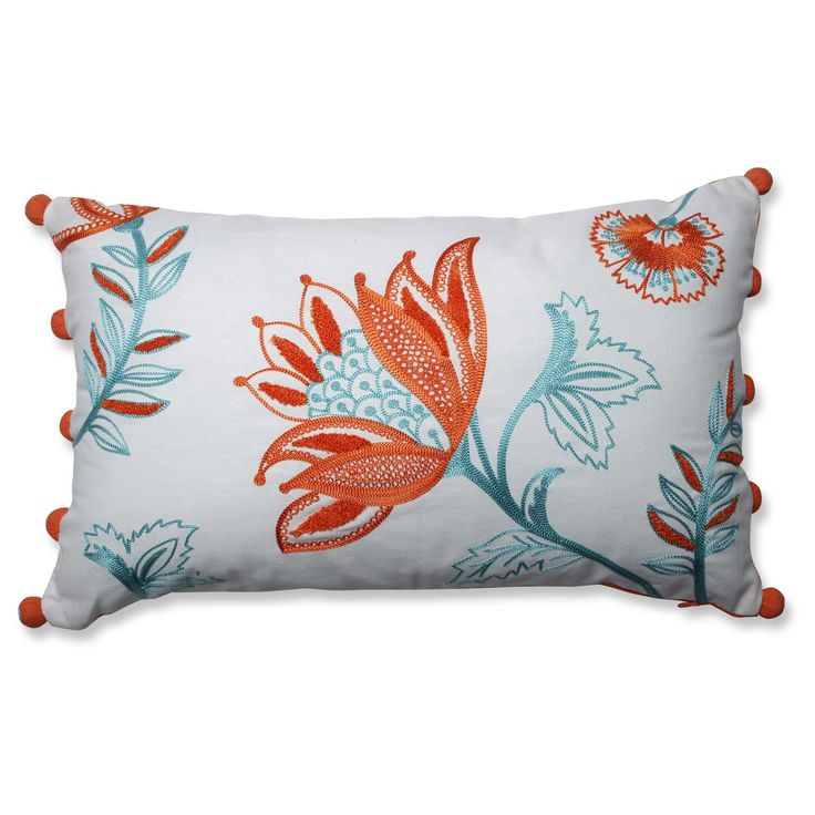 Jacobean flowers bloom in burnished shades of hot orange and Caribbean blue against sharp white fabric in this luscious 12x20-inch throw pillow. Accented in coordinating puffballs, this Mediterranean throw pillow pairs perfectly back to Piper Citrus-White, Dimensional Lines Citrus, Amber Citrus-Belize, and Ellie Belize-Citrus.