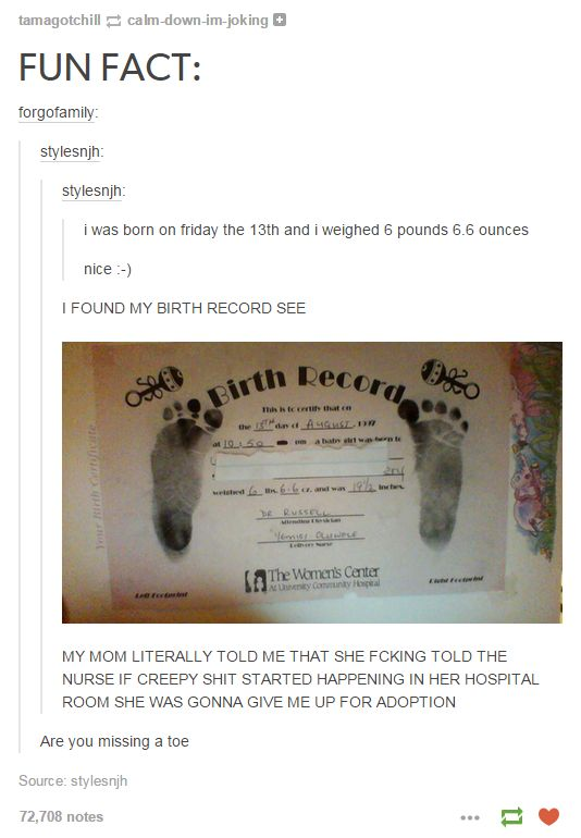 Haha FUN FACT the OP of this post is actually a huge cunt and lost it on a bunch of people for asking if they were missing a toe (: