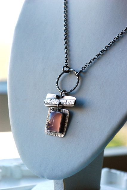 Abstract Handmade Necklace in Sterling Silver and Pink Chalcedony. $109.00, via Etsy.