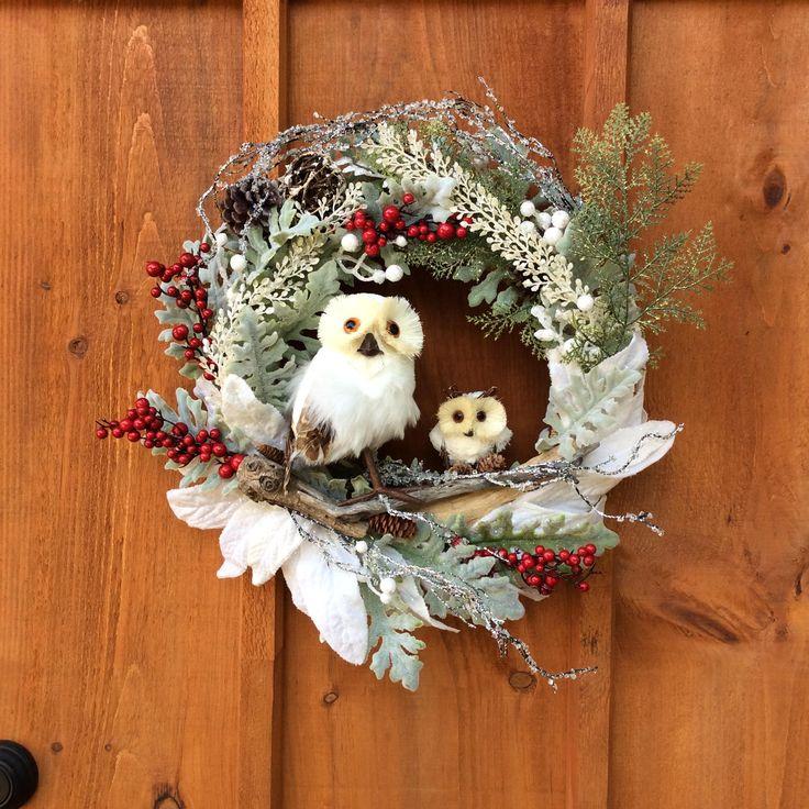 Owl Wreath, Wildlife Wreath, Snowy Owl Wreath, Front Door Wreath, Christmas Wreath, Nature Wreath, Door Decor, Wild Birds,  Made In Canada by DearloveDecorDesign on Etsy