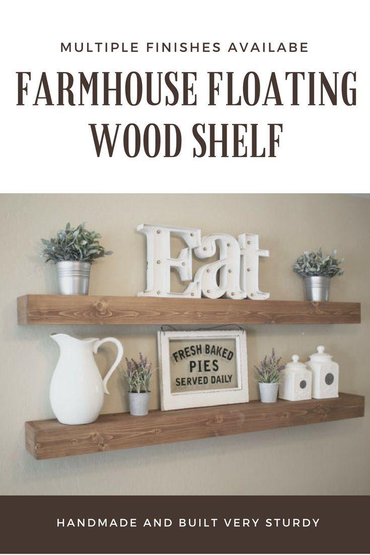 Farmhouse Floating Wood Shelf with multiple finished available #farmhouse #decor #farmhousedecor #affiliate #shelves #floatingshelf #shelf
