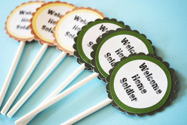 Welcome Home Soldier Cupcake Toppers Set of 12 By Your Little Cupcake. $5.00, via Etsy.
