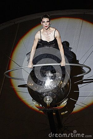 BUCHAREST, ROMANIA - JUNE 1: Cie Off company woman artist performs her Paraboles show act during the Fifth B-FIT International Street Theater Festival on June 1, 2013 in Bucharest, Romania.