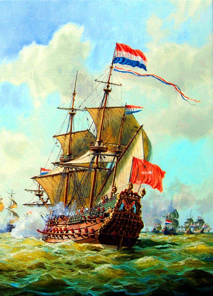 Dutch fleet in action, Anglo-Dutch War