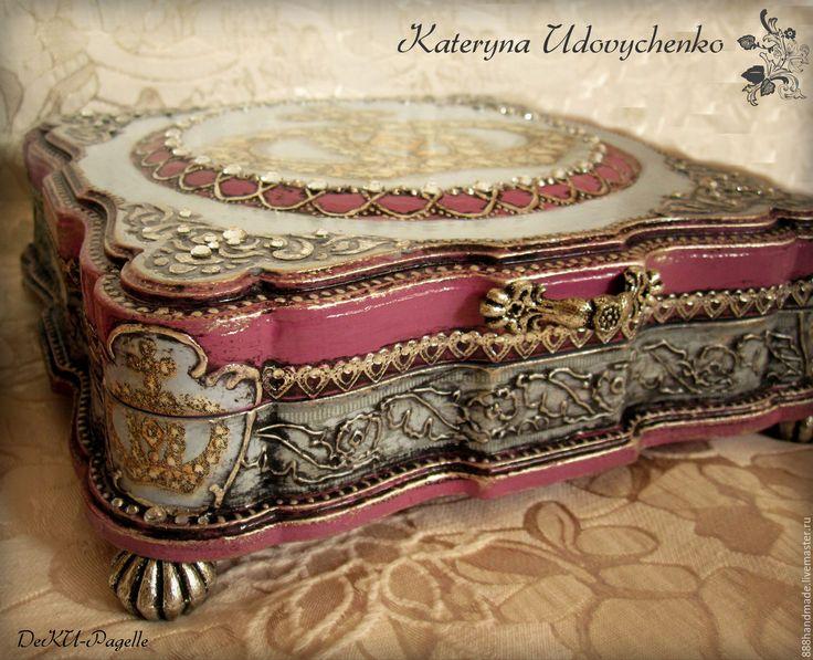 """Купить Шкатулочка """"Корона Людовика Четырнадцатого"""" - шкатулка, Декупаж, корона, голубой, розовый, роскошная шкатулка"""