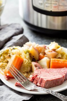 Corned beef and cabbage cooked in an instant pot.   Cook for 1.5 hrs then natural release.  Cook cabbage on stove separate from other veggies.