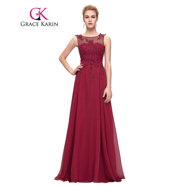 Grace Karin Elegant Long Evening Dresses 2016 Chiffon Pink Purple Red Royal Blue Black Formal Evening Dress Gown Abendkleider
