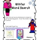 In this word seach students can locate words that relate to winter.  This freebie is a fun activity to do with your students, or give them as morni...