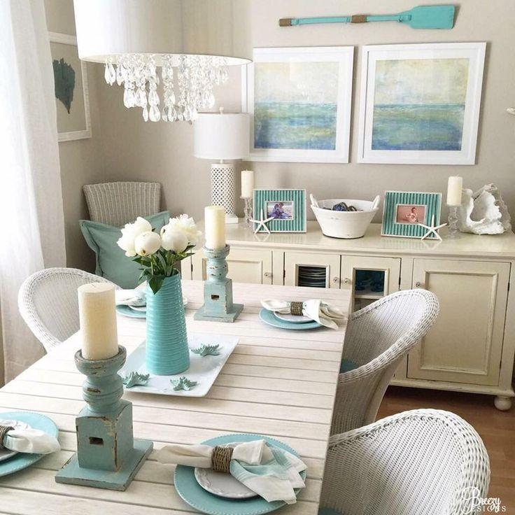 47 Stunning Coastal Kitchen Decorating Table Design ...