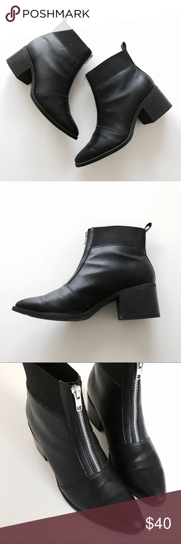 New Look Black Heeled Zip Front Booties New Look zip front ankle boots in size UK 8/EU 42. Fits like a women's US 10. Worn only a handful of times. ASOS Shoes Ankle Boots & Booties