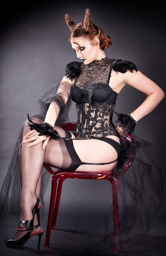 Black Lace and feather epaulettes  burning by DangerouslyDifferent, $90.00
